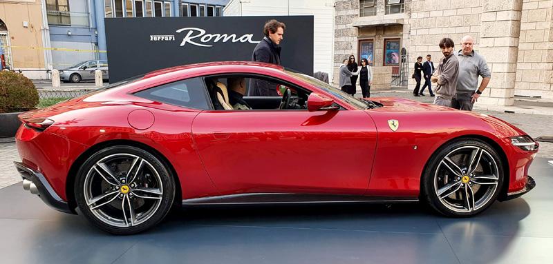 Red Ferrari Roma outside Teatro Dell'Opera